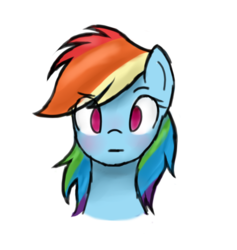 Size: 706x745 | Tagged: source needed, safe, rainbow dash, bust, empty eyes, expressionless face, female, looking at you, no catchlights, no pupils, portrait, simple background, solo, transparent background