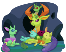 Size: 1500x1200 | Tagged: safe, artist:itstaylor-made, thorax, oc, oc:apex, changedling, changeling, nymph, to where and back again, changedling oc, changeling hive, changeling oc, cuddling, cute, cuteling, eyes closed, fanfic, fanfic art, king thorax, open mouth, papa thorax, pony hat, sleeping, smiling, snuggling, thorabetes
