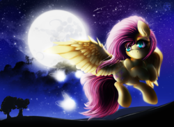 Size: 3000x2200 | Tagged: safe, artist:thetarkaana, fluttershy, firefly (insect), cloud, flying, full moon, looking at you, moon, night, scenery, silhouette, solo, spread wings, starry night, stars, tree