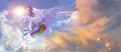 Size: 2300x1000 | Tagged: safe, artist:aquagalaxy, artist:crazyaniknowit, rainbow dash, pegasus, pony, cloud, collaboration, female, flying, large wings, lens flare, mare, sky, solo, spread wings, sun, underhoof, wings