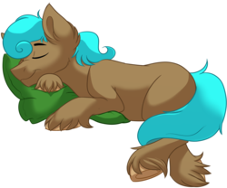 Size: 1200x1000 | Tagged: safe, artist:itstaylor-made, oc, oc only, oc:sidekick, earth pony, pony, male, pillow, simple background, sleeping, solo, transparent background, unshorn fetlocks