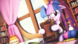 Size: 3840x2159 | Tagged: safe, artist:selestlight, sci-twi, twilight sparkle, 3d, alternate hairstyle, book, bookhorse, bookshelf, cookie, cookie jar, cute, food, glasses, hourglass, ponified, solo, source filmmaker, window