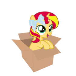 Size: 720x720 | Tagged: artist:php30, bow, box, cute, female, filly, filly sunset, hair bow, happy, if i fits i sits, mare, pony, pony in a box, safe, shimmerbetes, simple background, smiling, solo, sunset shimmer, transparent background, unicorn, younger