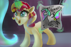 Size: 1200x800 | Tagged: artist:mylittlegodzilla, best princess, cute, drawing, filly, filly sunset, magic, pony, princess celestia, safe, shimmerbetes, sunset shimmer, telekinesis, this will end in tears, this will not end well, younger
