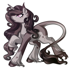 Size: 3687x3587 | Tagged: safe, artist:amazing-artsong, oc, oc only, oc:tenebris silva, classical unicorn, pony, cloven hooves, female, leonine tail, mare, simple background, solo, transparent background, unshorn fetlocks