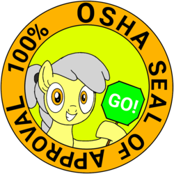 Size: 1000x1000 | Tagged: safe, artist:toyminator900, oc, oc only, oc:osha, earth pony, pony, seal of approval, sign, solo