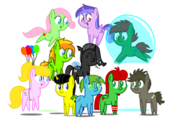 Size: 2700x1850 | Tagged: artist:bladedragoon7575, bubble, changeling, chibi, cute, earth pony, floating, group, group photo, in bubble, oc, oc:balance blade, oc:lola balloon, oc only, oc:squeaky plaything, pegasus, pointy ponies, pony, safe, swirlicorn, unicorn, werewolf