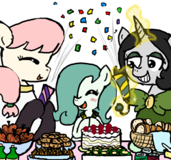 Size: 640x600 | Tagged: safe, artist:ficficponyfic, color edit, edit, oc, oc only, oc:emerald jewel, oc:hope blossoms, oc:joyride, earth pony, pony, unicorn, colt quest, amulet, anniversary, apple, basket, blushing, bottle, bowtie, bread, cake, child, clothes, color, colored, colt, cookie, cute, eyes closed, eyeshadow, female, foal, food, hair over one eye, happy, horn, makeup, male, mantle, mare, monochrome, party, ponytail, request, robe, smiling, soda, streamers