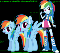 Size: 1511x1340 | Tagged: safe, artist:deathnyan, artist:geometrymathalgebra, rainbow dash, equestria girls, analysis, height, math, response, science, size comparison