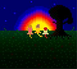 Size: 961x863 | Tagged: safe, artist:starry mind, apple bloom, applejack, big macintosh, earth pony, pony, apple siblings, male, pixel art, stallion, sun, sunset, tree