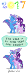 Size: 1831x4658 | Tagged: safe, artist:gutovi, starlight glimmer, trixie, pony, unicorn, 2017, absurd resolution, female, hat, kissing, lesbian, mare, new year, shipping, shocked, startrix, surprise kiss, surprised, vector