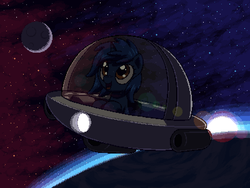 Size: 800x600   Tagged: safe, artist:rangelost, oc, oc only, oc:starlight blossom, pony, unicorn, cute, female, filly, pixel art, planet, solo, space, space ship