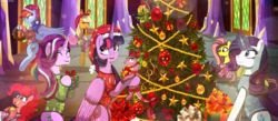 Size: 6362x2786   Tagged: safe, artist:asika-aida, applejack, fluttershy, pinkie pie, rainbow dash, rarity, spike, starlight glimmer, twilight sparkle, alicorn, pony, 2017, absurd resolution, christmas, christmas tree, clothes, cute, freckles, happy new year, happy new year 2017, hat, hearth's warming, holiday, mane seven, mane six, ornament, present, santa hat, tree, twilight sparkle (alicorn), twilight's castle