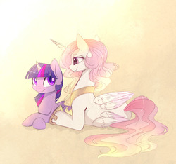 Size: 1280x1199   Tagged: safe, artist:magnaluna, princess celestia, twilight sparkle, alicorn, pony, colored pupils, colored wings, colored wingtips, cute, cutelestia, eye contact, female, jewelry, lesbian, lidded eyes, looking at each other, peytral, pink mane, pink-mane celestia, prone, shipping, smiling, twiabetes, twilestia, twilight sparkle (alicorn)