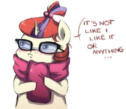 Size: 1239x1072 | Tagged: safe, artist:buttersprinkle, moondancer, pony, unicorn, blushing, clothes, cute, dialogue, female, glasses, hnnng, looking away, mare, scarf, simple background, solo, text, tsundancer, tsundere, white background