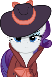 Size: 3387x5000   Tagged: safe, artist:dashiesparkle, rarity, pony, unicorn, rarity investigates, .svg available, detective rarity, fedora, female, hat, lidded eyes, mare, simple background, solo, transparent background, vector