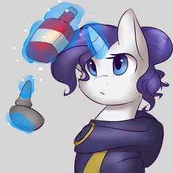 Size: 1800x1800   Tagged: safe, artist:captainpudgemuffin, rarity, alchemy, crossover, female, glowing horn, gray background, magic, mortar and pestle, potion, simple background, skyrim, solo, the elder scrolls