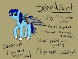 Size: 2000x1500 | Tagged: artist:speedpaintthegod, metal wing, oc, oc only, oc:speedpaint, pegasus, pony, reference sheet, safe, solo, text