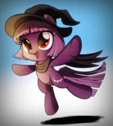 Size: 1292x1436 | Tagged: safe, artist:ruhisu, oc, oc only, oc:foresight, earth pony, pony, clothes, commission, costume, cute, cutie mark, female, filly, happy, hat, jumping, scarf, smiling, solo, witch, witch hat
