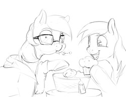 Size: 1280x989   Tagged: safe, artist:silfoe, derpy hooves, oc, oc:silfoe, pegasus, pony, royal sketchbook, ask, basket, caught, clothes, cute, eating, female, food, grayscale, mare, monochrome, muffin, simple background, sketch, tumblr, white background