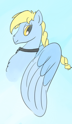 Size: 1050x1800 | Tagged: artist:ononim, braid, bust, charm, chest fluff, collar, gradient background, lidded eyes, looking back, male, oc, oc only, oc:windswept skies, pegasus, pony, safe, simple background, smiling, solo, spread wings, stallion, wings, yellow eyes