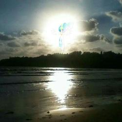 Size: 1035x1035 | Tagged: safe, princess celestia, against sun, beach, irl, photo, ponies in real life, shore, solo, sun, sunrise