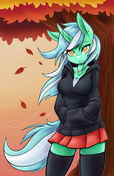 Size: 825x1275   Tagged: safe, artist:ambris, edit, lyra heartstrings, anthro, autumn, breasts, busty lyra heartstrings, clothes, colored pupils, cute, dig the swell hoodie, female, hoodie, jewelry, lyrabetes, necklace, skirt, socks, solo, stockings, thigh highs, tree, zettai ryouiki