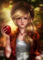 Size: 918x1280 | Tagged: safe, artist:nindei, applejack, human, apple, beautiful, clothes, female, fruit, humanized, looking at you, obligatory apple, realistic, solo