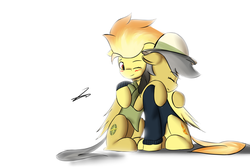 Size: 3872x2592 | Tagged: safe, artist:xaski21, daring do, spitfire, blushing, clothes, daringfire, female, hug, lesbian, shipping, shirt, simple background