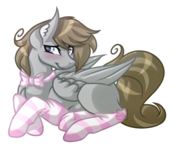 Size: 3800x3233 | Tagged: safe, artist:amazing-artsong, oc, oc only, oc:digital dusk, pegasus, pony, bowtie, clothes, femboy, male, prone, simple background, socks, solo, stallion, striped socks, transparent background