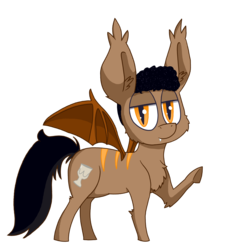Size: 1600x1600 | Tagged: safe, artist:dragonpone, derpibooru exclusive, oc, oc only, oc:chug, bat pony, pony, 2017 community collab, derpibooru community collaboration, cheek fluff, chest fluff, disinterested, ear fluff, fangs, fluffy, lidded eyes, looking at you, ponysona, raised hoof, simple background, smiling, solo, spread wings, transparent background, underhoof, waving
