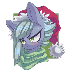 Size: 3000x3000 | Tagged: safe, artist:kaikoinu, limestone pie, earth pony, pony, blushing, bust, christmas, clothes, confident, cute, featured image, female, frown, glare, grumpy, hat, holiday, limabetes, limetsun pie, looking away, mare, portrait, santa hat, scarf, simple background, solo, tsundere, white background