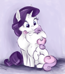 Size: 992x1136 | Tagged: safe, artist:buttersprinkle, rarity, sweetie belle, pony, unicorn, behaving like a cat, buttersprinkle is trying to murder us, chest fluff, cuddling, cute, daaaaaaaaaaaw, diasweetes, eyes closed, female, filly, floppy ears, hnnng, kitty belle, mare, neck nuzzle, nuzzling, raised hoof, raribetes, raricat, sisters, sitting, smiling, snuggling, weapons-grade cute
