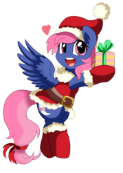 Size: 2087x2917 | Tagged: safe, artist:pridark, oc, oc only, clothes, costume, cute, hat, present, santa costume, santa hat, simple background, solo, transparent background