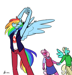 Size: 1280x1347 | Tagged: anthro, armpits, artist:rwl, bisexual, blushing, cheeribreeze, cheeridash, cheerilee, eyes closed, eyes on the prize, female, grin, lesbian, male, rainbow dash, safe, shipping, simple background, smiling, spread wings, straight, stretching, white background, zephyr breeze