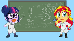 Size: 799x448 | Tagged: safe, artist:advanceddefense, edit, sci-twi, sunset shimmer, twilight sparkle, equestria girls, chalkboard, chibi, clothes, cropped, lab coat
