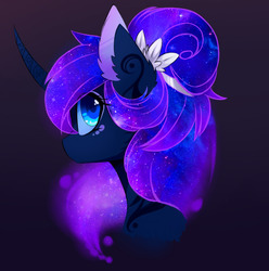 Size: 1280x1290 | Tagged: safe, artist:magnaluna, princess luna, pony, alternate hairstyle, beautiful, color porn, colored pupils, curved horn, cute, ear fluff, female, flower, flower in hair, galaxy mane, looking back, lunabetes, mare, simple background, solo, wingding eyes
