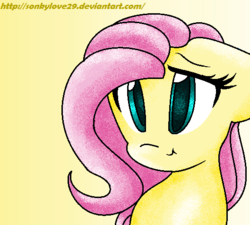 Size: 529x476 | Tagged: safe, artist:sonkylove29, fluttershy, bust, gradient background, looking at you, portrait, smiling, solo