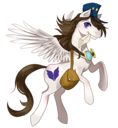 Size: 861x929 | Tagged: 2017 community collab, artist:ezabor, derpibooru community collaboration, goggles, letter, looking at you, mailpony, male, oc, oc:arcanel, oc only, pegasus, pony, saddle bag, safe, simple background, smiling, solo, stallion, transparent background