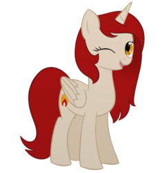 Size: 800x850 | Tagged: safe, artist:amber flicker, oc, oc only, oc:amber flicker, alicorn, pony, 2017 community collab, derpibooru community collaboration, alicorn oc, female, looking at you, mare, one eye closed, open mouth, show accurate, simple background, smiling, solo, transparent background, wink