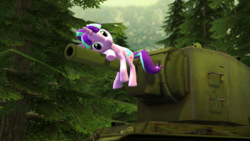 Size: 3640x2048 | Tagged: safe, artist:purenexus, starlight glimmer, 3d, kv-2, looking at you, lying down, russian, solo, source filmmaker, stronk kv-2, tank (vehicle), this will end in communism, tree, wtf