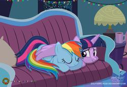Size: 2795x1938 | Tagged: safe, artist:shutterflyeqd, rainbow dash, twilight sparkle, alicorn, pony, blushing, couch, cute, eyes closed, female, hug, lesbian, lidded eyes, night, prone, shipping, sleeping, smiling, snow, snowfall, twidash, twilight sparkle (alicorn), window, wing blanket, winghug, winter