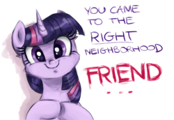 Size: 1720x1188 | Tagged: safe, artist:buttersprinkle, twilight sparkle, alicorn, pony, ..., c:, cute, faic, female, friend, friendship, happy, looking at you, mare, meme, reaction image, right neighborhood, simple background, smiling, solo, subversion, subverted meme, text, twiabetes, twiface, underhoof, white background, wrong neighborhood
