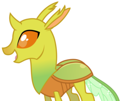 Size: 2891x2403 | Tagged: safe, artist:sketchmcreations, changedling, changeling, to where and back again, background changeling, happy, open mouth, simple background, smiling, solo, transparent background, vector, yellow