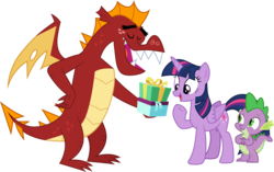 Size: 1852x1164 | Tagged: safe, artist:cloudyglow, garble, spike, twilight sparkle, alicorn, dragon, pony, eyes closed, female, hand on hip, male, open mouth, present, raised hoof, shipping, simple background, smiling, spread wings, straight, transparent background, twigarble, twilight sparkle (alicorn), underhoof