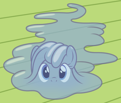 Size: 1908x1617 | Tagged: safe, artist:badumsquish, derpibooru exclusive, oc, oc only, oc:tremble, goo pony, original species, badumsquish strikes again, cuddle puddle, cute, female, floor, imminent hape, literal, looking at you, looking up, melted, on floor, prone, puddle, pun, shaped like itself, solo, transparent flesh, visual pun