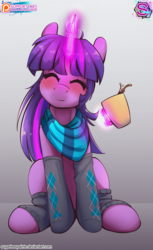 Size: 1036x1695   Tagged: safe, artist:sugarlesspaints, twilight sparkle, pony, unicorn, beverage, clothes, commission, cup, cute, drink, eyes closed, female, glowing horn, hot chocolate, magic, mare, patreon, patreon logo, scarf, smiling, socks, solo, twiabetes