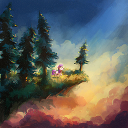 Size: 3000x3000 | Tagged: safe, artist:hunternif, sweetie belle, pony, unicorn, :o, cliff, cloud, cloudy, color porn, crepuscular rays, dream, female, filly, fir tree, grass, looking up, open mouth, outdoors, profile, raised hoof, scenery, sky, solo, spruce, style emulation, tree, wide eyes