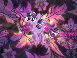 Size: 1600x1199 | Tagged: safe, artist:riofluttershy, artist:theshadowstone, twilight sparkle, alicorn, crystal pony, pony, crystal alicorn, crystallized, female, looking up, rainbow power, solo, twilight sparkle (alicorn)