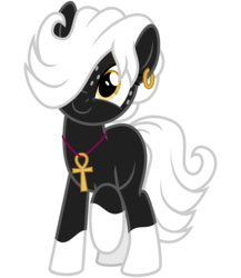 Size: 2600x3000   Tagged: safe, artist:cheezedoodle96, derpibooru exclusive, oc, oc only, oc:tragic, earth pony, pony, 2017 community collab, derpibooru community collaboration, .svg available, ankh, blank flank, c:, cute, ear piercing, earring, female, freckles, hair over one eye, jewelry, looking at you, mare, necklace, piercing, raised hoof, raised leg, simple background, smiling, solo, svg, transparent background, vector